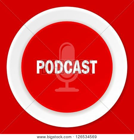podcast red flat design modern web icon
