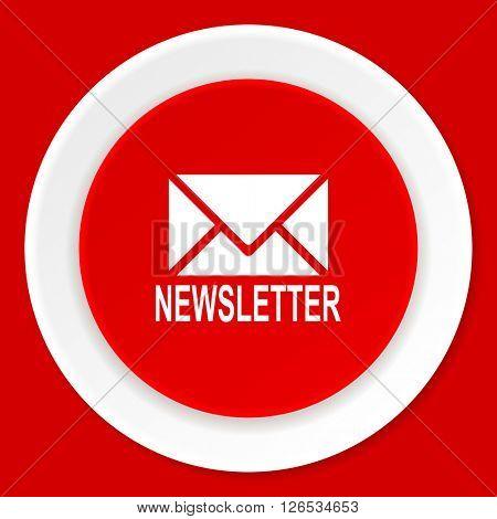 newsletter red flat design modern web icon
