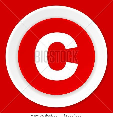 copyright red flat design modern web icon