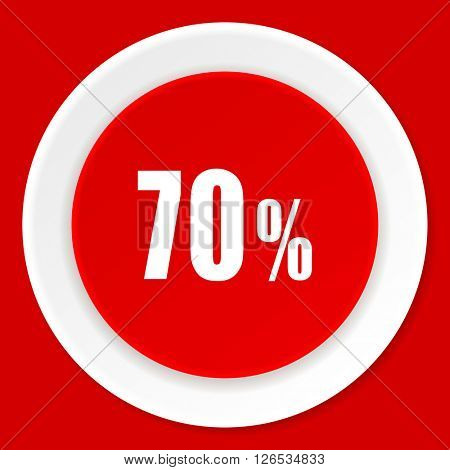 70 percent red flat design modern web icon