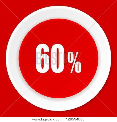 60 percent red flat design modern web icon