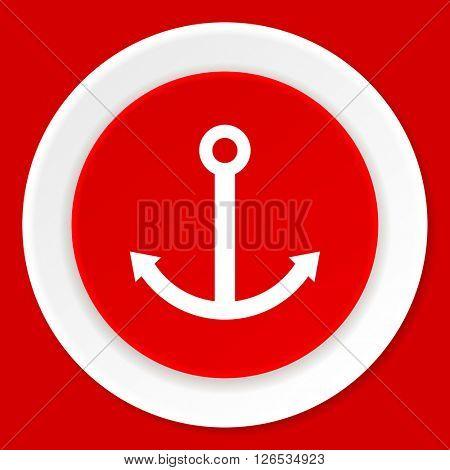 anchor red flat design modern web icon