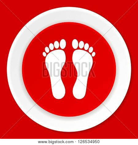 foot red flat design modern web icon