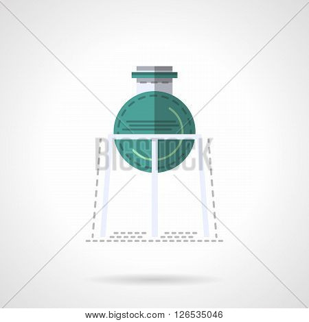 Rack with green flask bulb. Medical labware. Laboratory equipment and glass. Education and science. Chemistry research. Flat color style vector icon. Web design element for site, mobile and business.