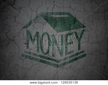 Money concept: Money Box on grunge wall background