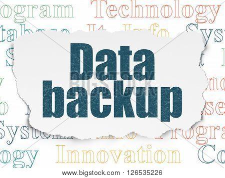 Data concept: Data Backup on Torn Paper background