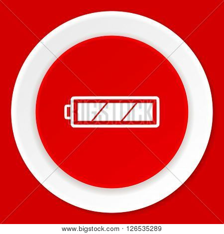 battery red flat design modern web icon