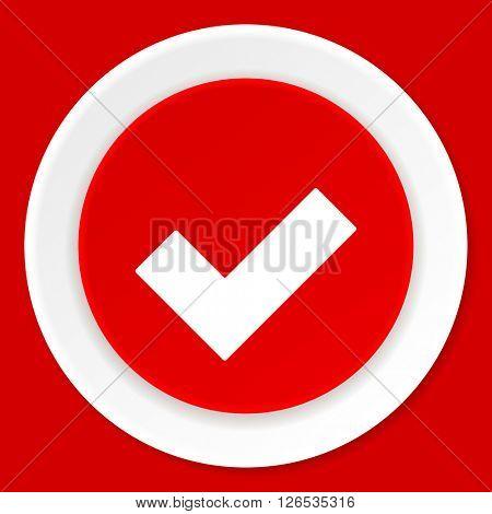 accept red flat design modern web icon
