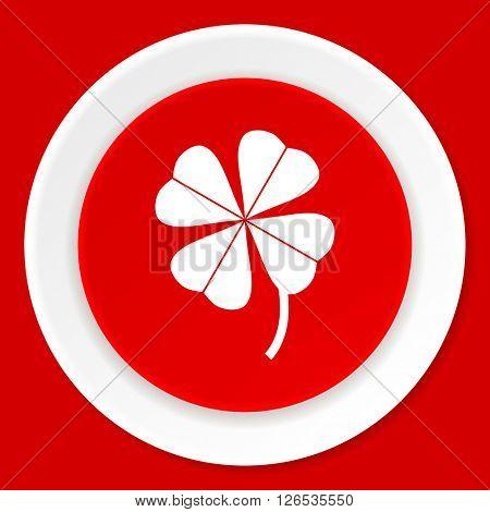 four-leaf clover red flat design modern web icon