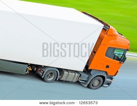 "fast moving blank truck with blurred surrounding -  of ""Trucks"" series in my portfolio"
