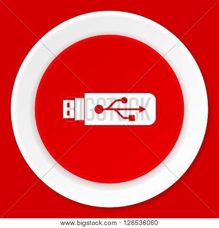 usb red flat design modern web icon