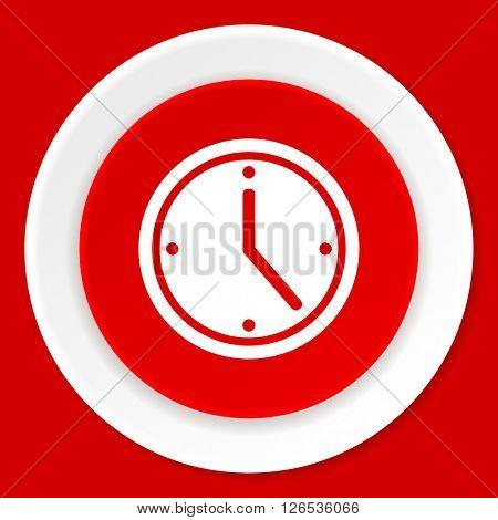 time red flat design modern web icon