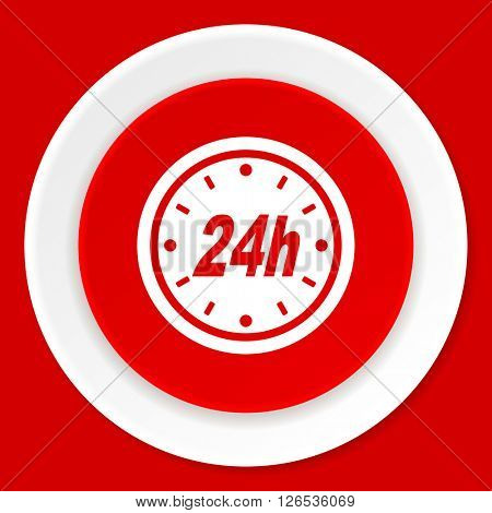 24h red flat design modern web icon