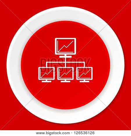network red flat design modern web icon