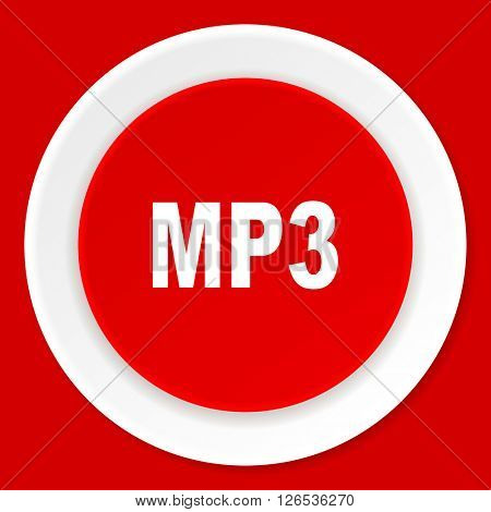 mp3 red flat design modern web icon