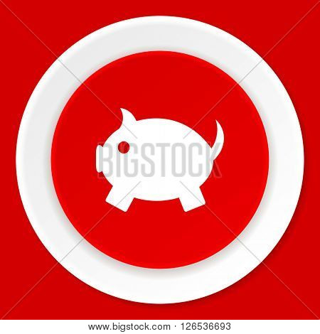 piggy bank red flat design modern web icon