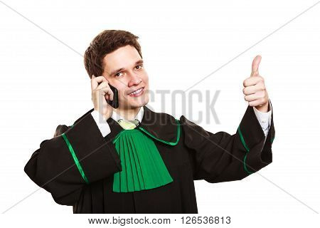 Lawyer With Thumb Up Make A Phone Call.