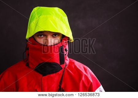Male Outdoorsman With Covered Face