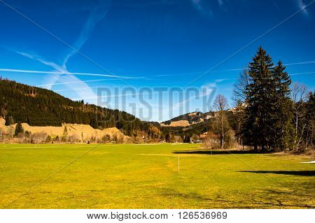 Idyllic landscape in the German Alps in early spring