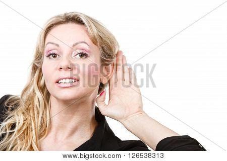 Blonde Woman Making Listening Gesture