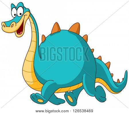 Smiling dinosaur walking