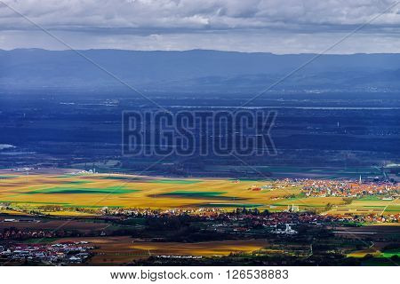 Panoramic Overview To Alsace From Abbey Mont Saint Odile. Spring Colors.