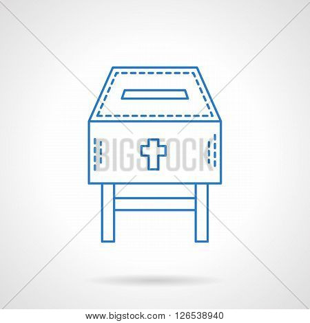 Fundraising for a church or temple. Donation box with cross. Flat blue line style vector icon. Single design element for website, business.