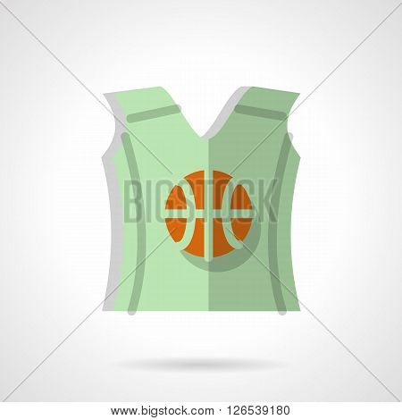 Green sleeveless shirt with orange basketball ball print. Sport wear. Team suit. Flat color style vector icon. Web design element for site, mobile and business.