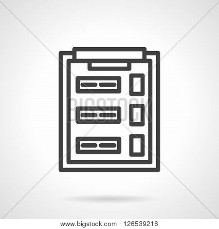 Clipboard with questionnaire or survey sheet with checkboxes. Office supplies. Marketing elements. Simple black line vector icon. Single element for web design, mobile app.