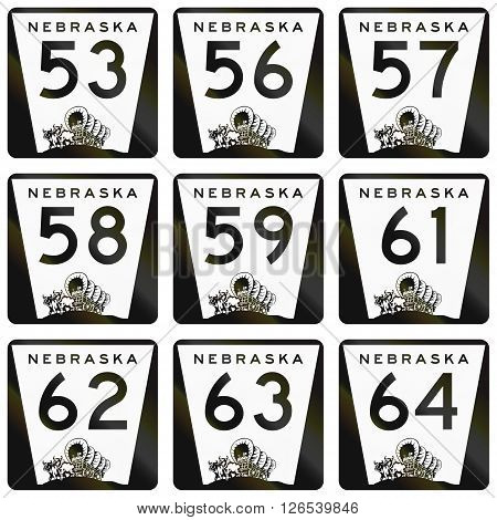 Collection Of Nebraska Route Shields Used In The United States