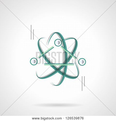 Symbol of physics science. Education and scientific research. Model of atoms or particles interaction. Flat color style vector icon. Web design element for site, mobile and business.