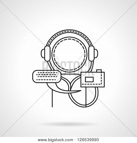 Abstract person with audio player and headphones. Distance education and learning concept. Audio lectures and tutorials. Flat line style vector icon. Single design element for website, business.