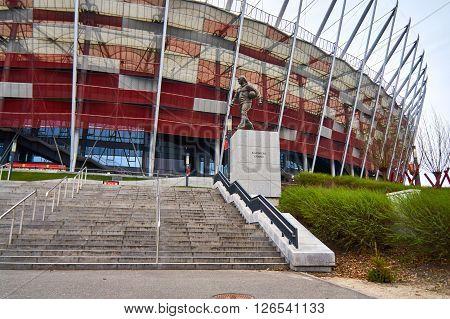 Warsaw, Poland - April 09, 2016: A statue of legendary Polish football coach Kazimierz Gorski. Kazimierz Gorski was the coach for the Polish national team in 73 matches with 45 wins.