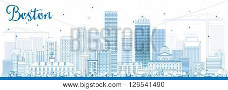 Outline Boston Skyline with Blue Buildings. Business Travel and Tourism Concept with Modern Buildings. Image for Presentation Banner Placard and Web Site.