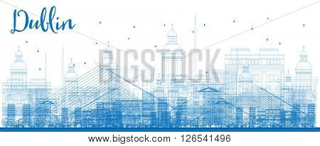 Outline Dublin Skyline with Blue Buildings. Business travel and tourism concept with historic buildings. Image for presentation, banner, placard and web site.