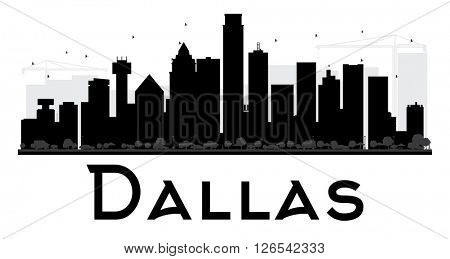 Dallas City skyline black and white silhouette. Simple flat concept for tourism presentation, banner, placard or web site. Business travel concept. Cityscape with landmarks