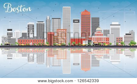 Boston Skyline with Gray, Red Buildings, Blue Sky and Reflections. Business Travel and Tourism Concept with Modern Buildings. Image for Presentation Banner Placard and Web Site.
