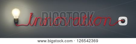 3d rendering of a light bulb with the word innovation