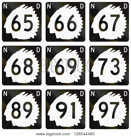 Collection Of North Dakota Route Shields Used In The United States
