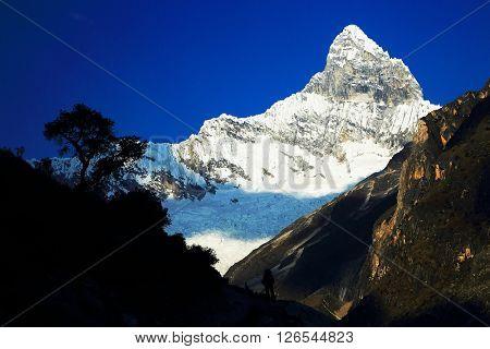 Chacraraju Peak (6108m) in Cordiliera Blanca, Peru, South America