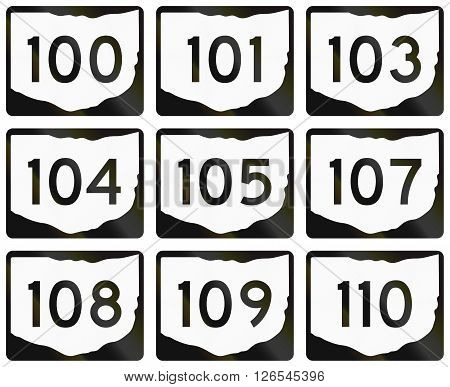 Collection Of Ohio Route Shields Used In The United States