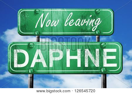 Now leaving daphne road sign with blue sky