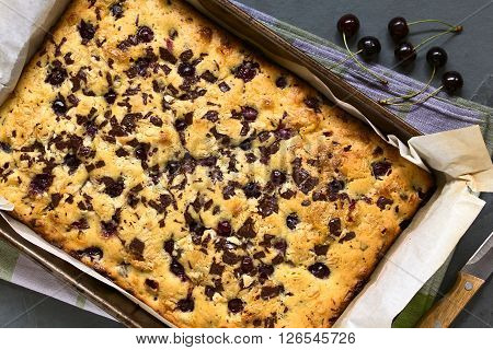 Cherry blondie or blond brownie cake baked with white and dark chocolate photographed in baking pan overhead with natural light