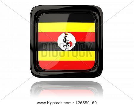 Square Icon With Flag Of Uganda