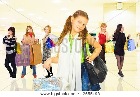 "group of girls in a shopping center  -  of  ""Shopping women"" multiple series in studio's portfolio"