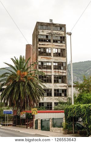 KOTOR MONTENEGRO - AUGUST 30 2009: An abandoned building that sustained major damage after the 1979 earthquake