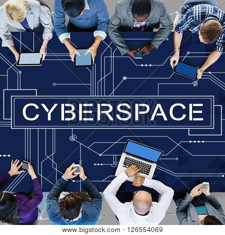 Cyber Cyberspace Connection Globalization Technology Concept