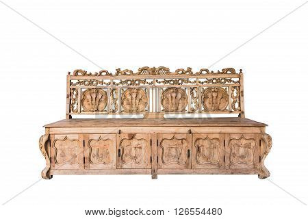 Brown wooden bench in the white background.clipping path