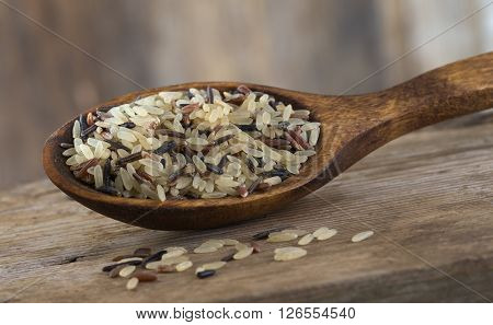 Long grain and wild rice mix in wooden spoon