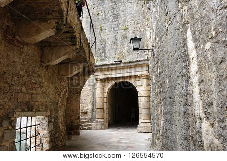 Kotor old town medieval fortification ramparts and defensive outer walls